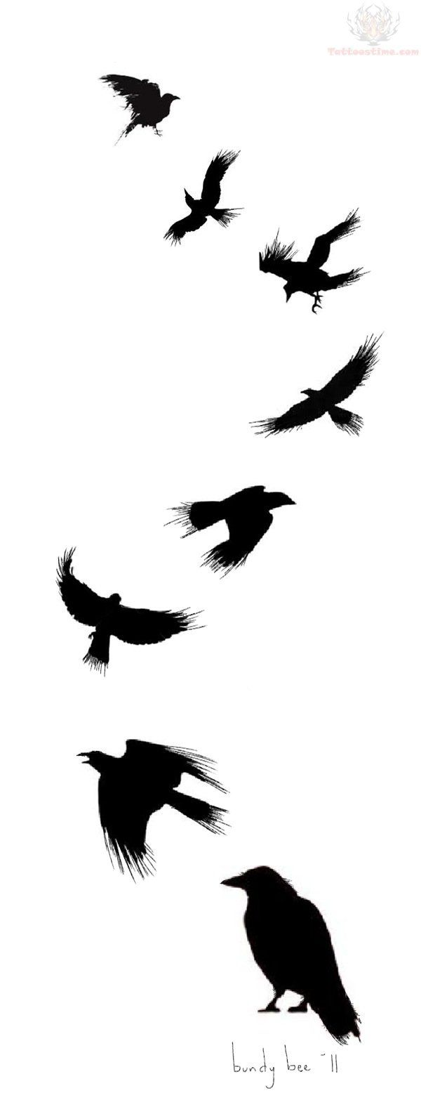 Flying Crow Tattoo Design