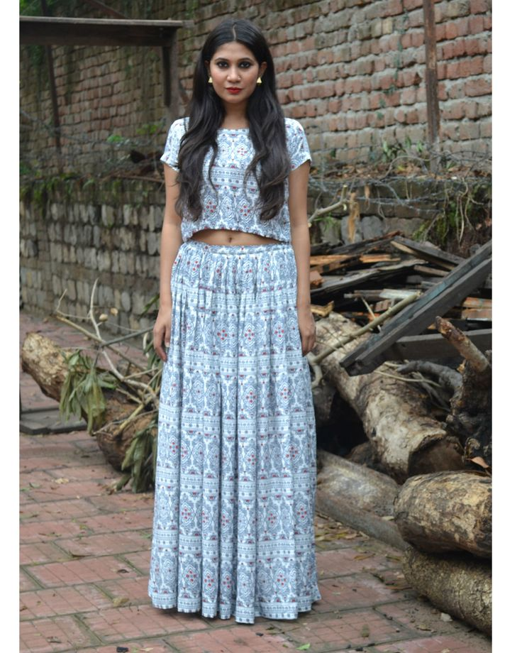 Old Indian Print Crop Top And Skirt Set by Nafisa Rachel William | The Secret Label