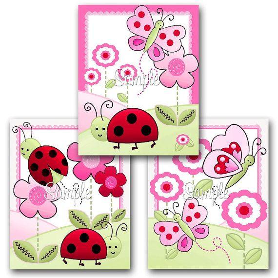 Conjunto de 3 grabados mariquita Rosa niñas por ToadAndLily en Etsy, $15.00
