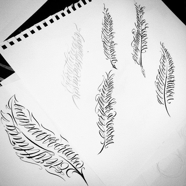feathers calligraphy calligrams by theosone
