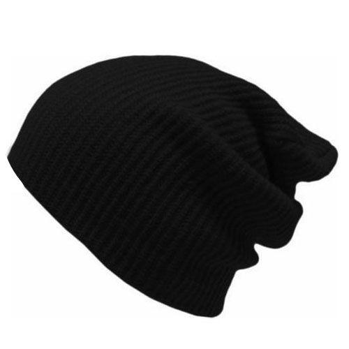 Mens Women Hat Knitted Woolly Winter Oversized Slouch Beanie Hats Cap skateboard Black