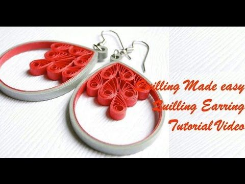 DIY Craft Ideas-How to make Beautiful Quilling Earring Orange/white New design -Paper Art Quilling - YouTube