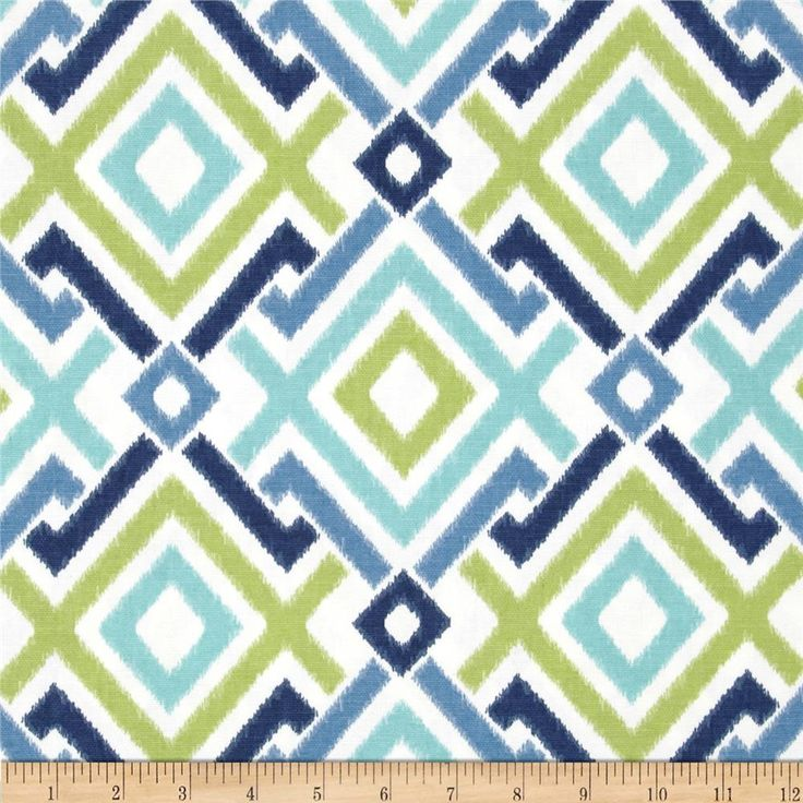 Swavelle/Mill Creek Jacq Diamonds Lagoon from @fabricdotcom  Screen printed on cotton duck; this versatile medium weight fabric is perfect for window accents (draperies, valances, curtains and swags), accent pillows, duvet covers and upholstery. Create handbags, tote bags, aprons and more. Colors include cobalt, aqua, kiwi and white.