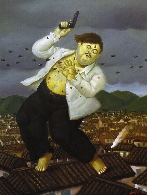 Fernando Botero, Mort de Pablo Escobar (Death of Pablo Escobar), 1999. Magic Transistor on Tumblr
