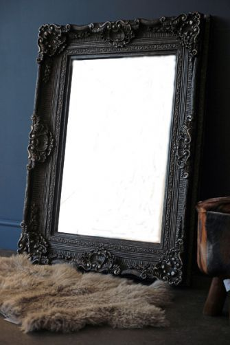 Large Ornate Grey and Silver framed Mirror