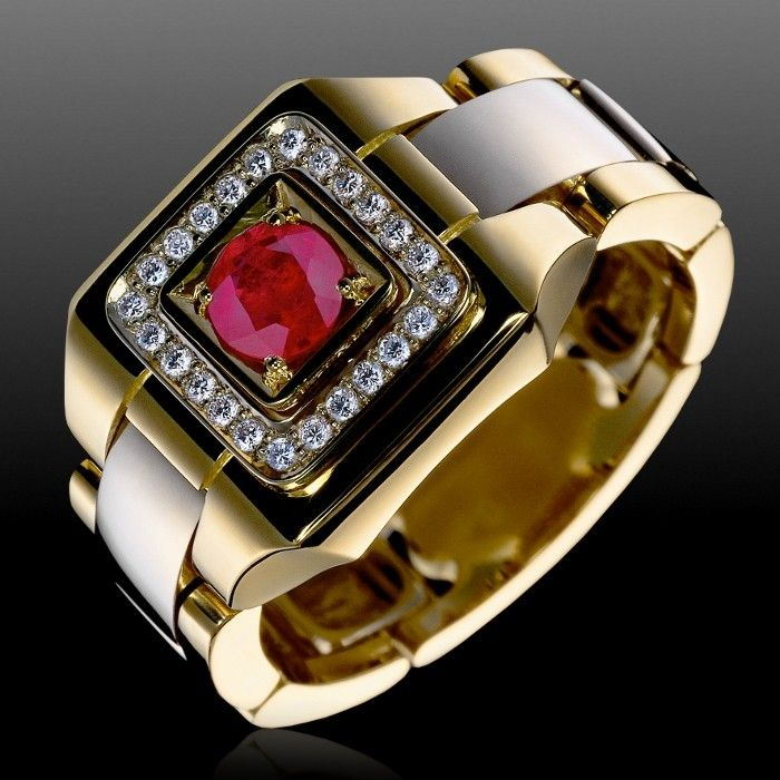 Мужские кольца с рубином.