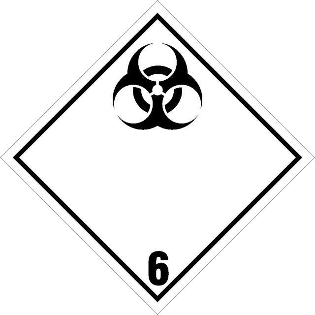 Naklejka Materiały zakaźne. Oznaczenie stosowane w transporcie materiałów zakaźnych określonych w klasie 6 Umowy ADR. Charakterystyka zagrożenia...