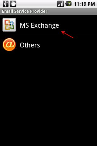 Step 4: Select MS Exchange