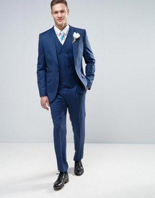 ASOS WEDDING Slim Suit in 100% Wool In Indigo
