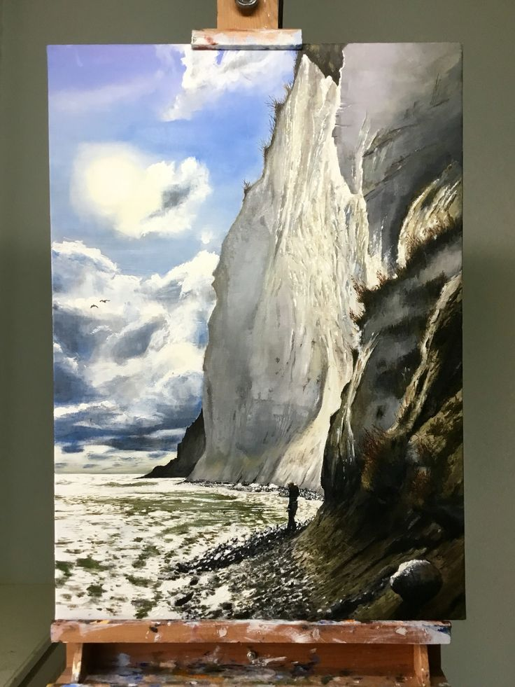 My painting of Møns Klint. My oldest daughter can be seen searching for fossils on the pebble beach. Oil on canvas, 50 x 70 cm. See more of my works at jonaslinell.com.  Cheers, Jonas  #oil #canvas #møn #mønsklint #art #painting #kunst #olie #lærred #maleri #landscape #sea #sky #clouds #waves #denmark #cliff #chalk #jonaslinell #linell #fossils #jurassic #sun #pebble #beach