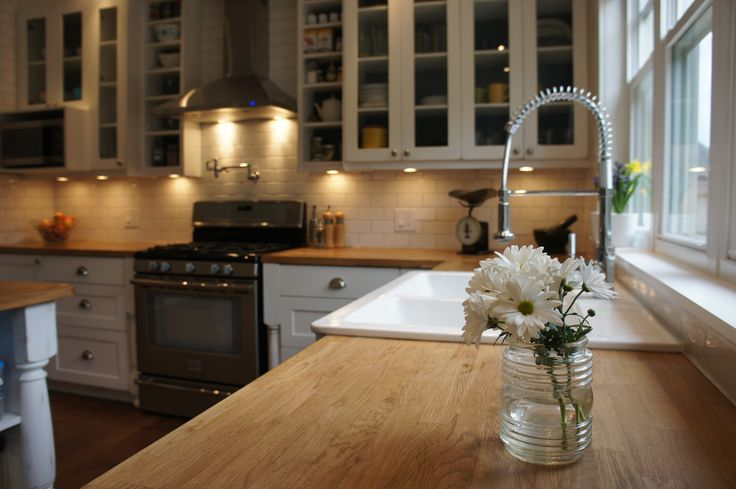 country kitchen wood counters and farmhouse sink