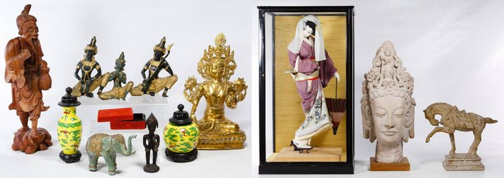 Lot 237: Asian Decorative Object Assortment; Including a carved wood Asian bearded elder, a carved wood African tribal figure, three Balinese painted metal musicians, a brass deity statue, two Hong Kong yellow ceramic vessels on wood stands, a carved trinket box, a plaster painted elephant, a painted silk Japanese Geisha doll in display box, a 1962 Austin Productions plaster bust of a Thai female and a Jaru California composite horse statue