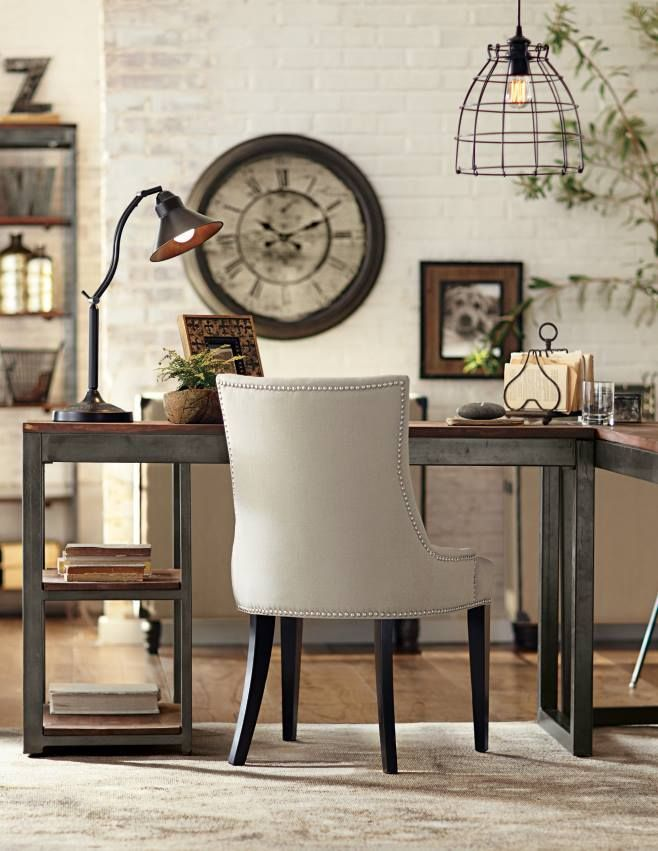 The industrial look office office bathrooms for Vintage living room decor