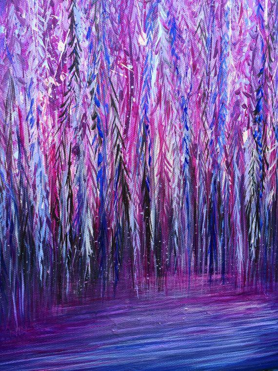 Wand Kunst Original Kunst Acryl Malerei Rosa Malerei Baum Malerei Natur  Kunst Lila Kunst Impressionismus