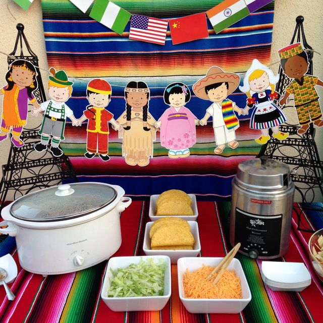 Small World taco bar at a Disney graduation party!  See more party ideas at CatchMyParty.com!