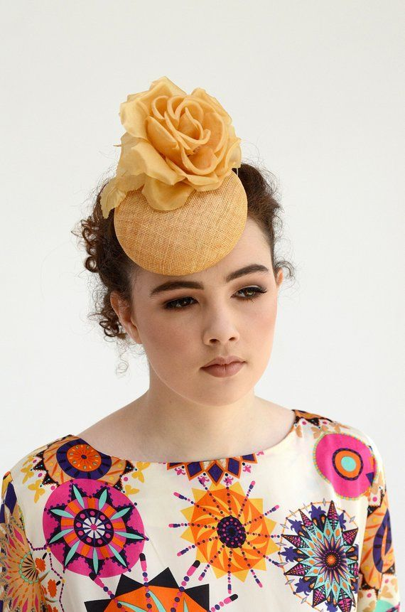 3d5f2210e099c Mustard Yellow Cocktail Hat - Mustard Fascinator - Dark Yellow Wedding Hat  - Yellow Gold Hat - Gold Fascinator Hat - Mustard Yellow Pillbox in 2019 ...