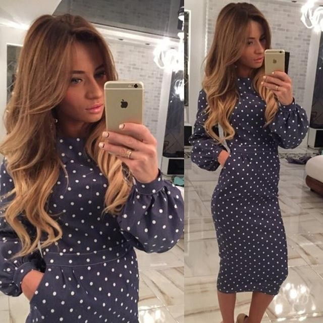 New-summer-women-dress-white-dots-Lantern-sleeves-slim-Preppy-style-straight-empire-O-Neck-mid