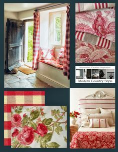 Gingham checks and toile combine to give a relaxed French Country feel; stick with similar reds for mixing patterns...and the world's your oyster!; painted white furniture and echoes of grain sack stripes make the best of this bold red quilted throw; Laura Ashley Roses cotton in Berry, and Tinsmiths Gingham check in Red will make you smile every day! Full details from Modern Country Style blog: Romantic Red Faded Florals: Get The Look