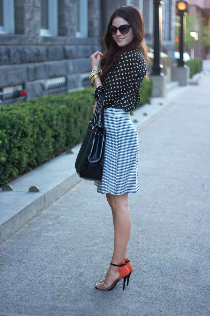 classy but coolShoes, Fashion, Skirts, Outfit, Polka Dots Blouses, Personalized Style, High Heels, Mixed Pattern, Pink Peonies