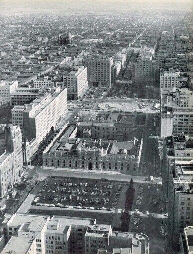 Panorámica Barrio Cívico de Santiago de Chile cerca de 1960