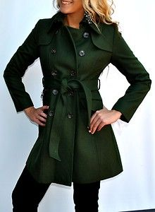 New-Womens-DKNY-Wool-Blend-Coat-Trench-Coat-Belted-Green-10P-Petite