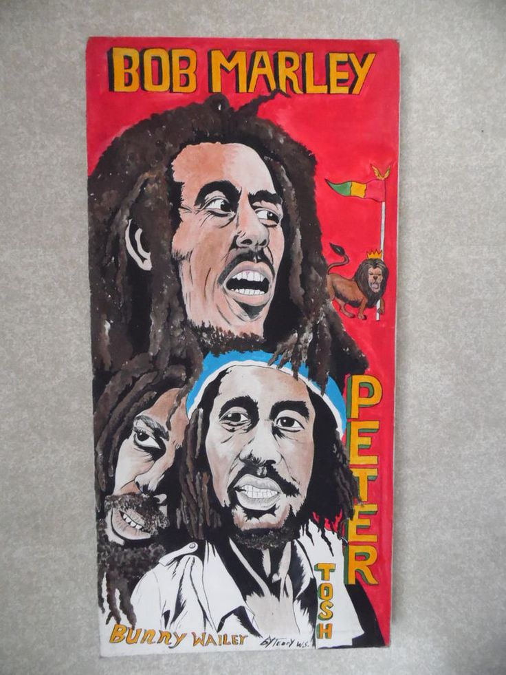 "Vintage BOB MARLEY Original CANVAS ART PAINTING 35""x17"" by artist Teddy Williams #PopArt"