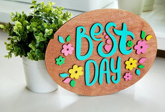 Wood Poster Oval Shape Best Day Unfinished form for drawing