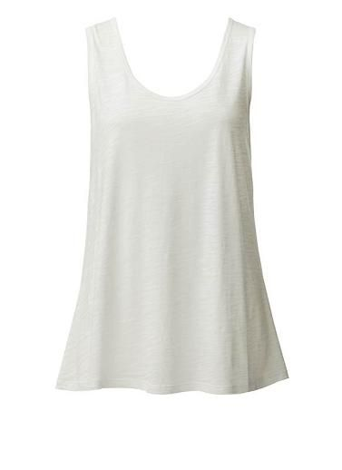 Cotton/Modal blend sleeveless tank with contrast 100% Viscose back. Loose fitting silhouette with centre back pleat. Available in Black and Canvas.