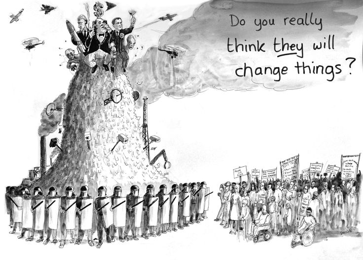 'Do you really think they will change things?' Drawing by Gary Drostle©