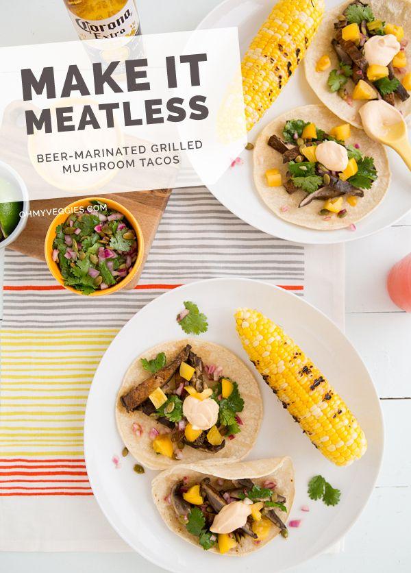 Beer-Marinated Grilled Mushroom Tacos with Pepita Slaw & Chipotle Crema