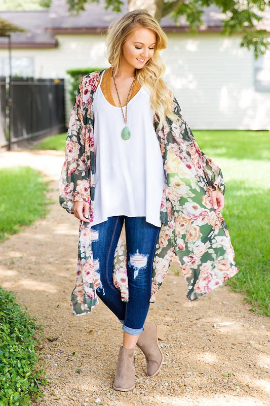 Fall For You Kimono - Olive