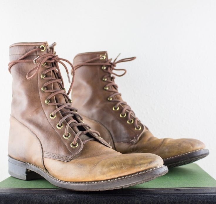 Vintage Cowboy Boots | Lace Up Shoes | Brown Leather Boots | Vintage Men's Cowboy Boots | Texas Boots | Size 8.5 UK 8 Euro 41 - 42     Only $69!
