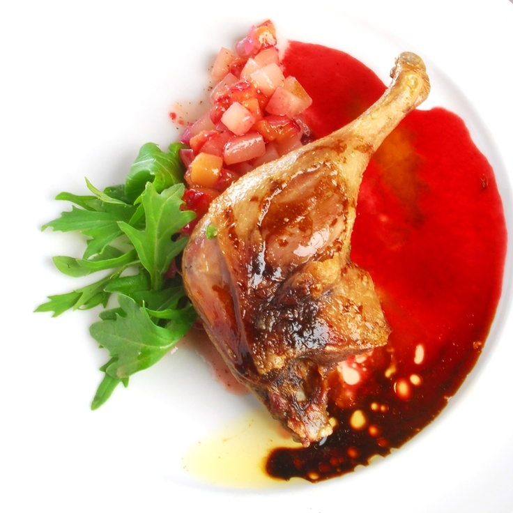 Duck Leg Confit with Quince Compote from Simple Treasures Cookbook. Rocky Mountain Cuisine.