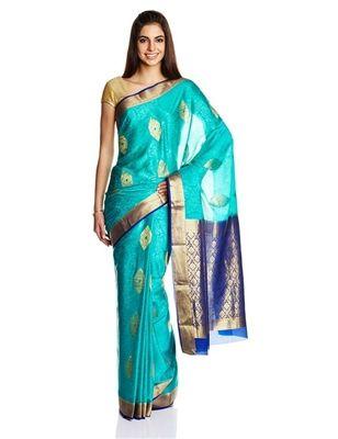 MySore Silk Saree with Blue Blouse  #templejewelry #onegramgold #kundanjewelry #returngifts #temple #mysoresilksaree #silksaree #jewelry #jewels #jewelsamore #indian #gold #kundan #gift #saree #dancejewelry #blue #bluesaree