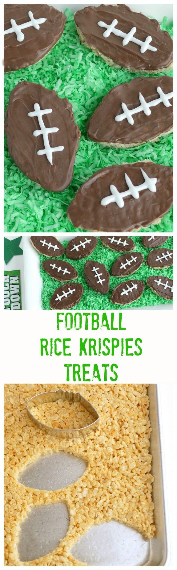 Football Inspired Rice Krispies Treats great for game day and tailgating parties! - from noblepig.com