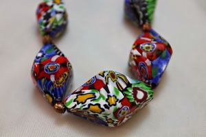 Murano-Venetian-Glass-Milifiori-End-of-Day-Graduated-Bead-Necklace