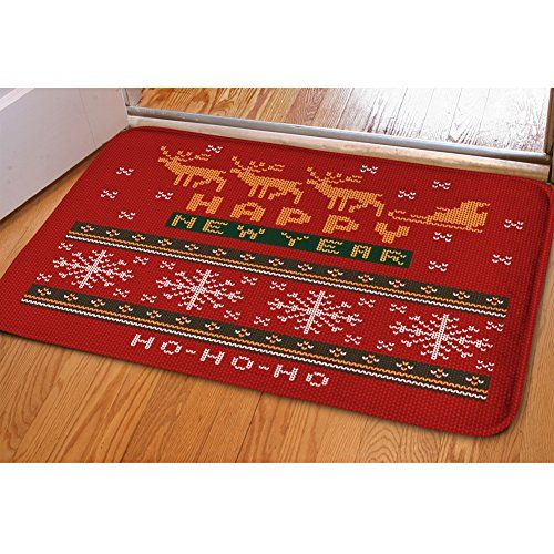 Xinind Christmas Doormats Soft Indoor Mat Entryway Decor Mats Light