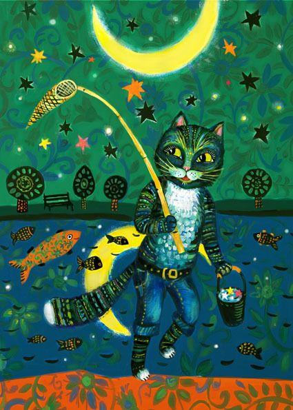 Сообщество иллюстраторов / Иллюстрации / Потякина Елена / кот и луна