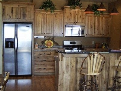 Top 25 best rustic hickory cabinets ideas on pinterest for Cheap rustic kitchen cabinets
