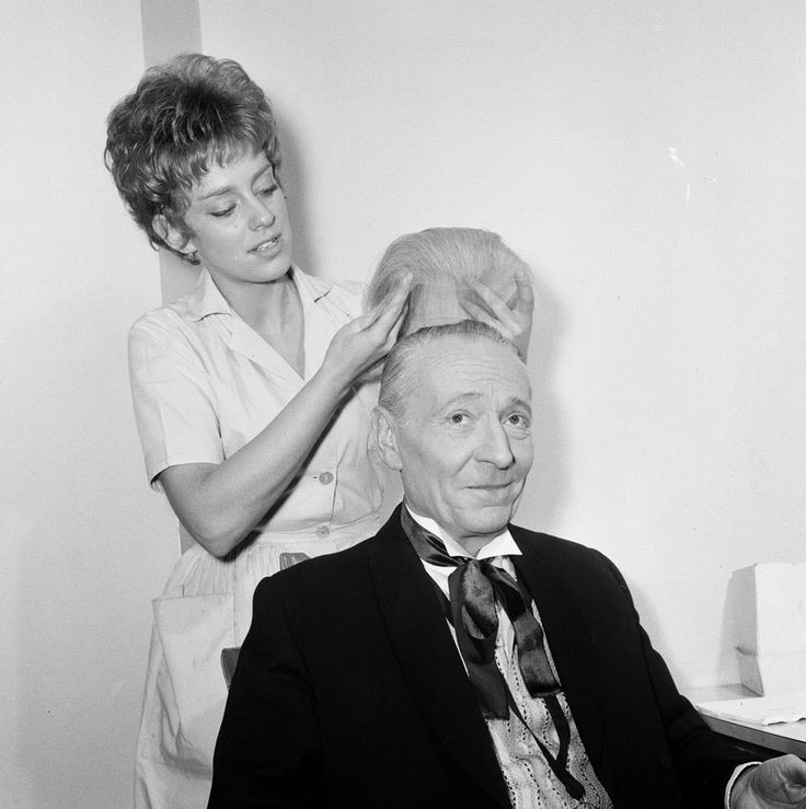 William Hartnell in hair and make-up: If you thought the professorial barnet worn by the first Doctor Who William Hartnell was the real deal, prepare for a shock. His hair was more like the short-back-and sides he sported in Carry On Sergeant, first of the comedy film series. Here he is having his wig fitted by a hair and makeup artist..