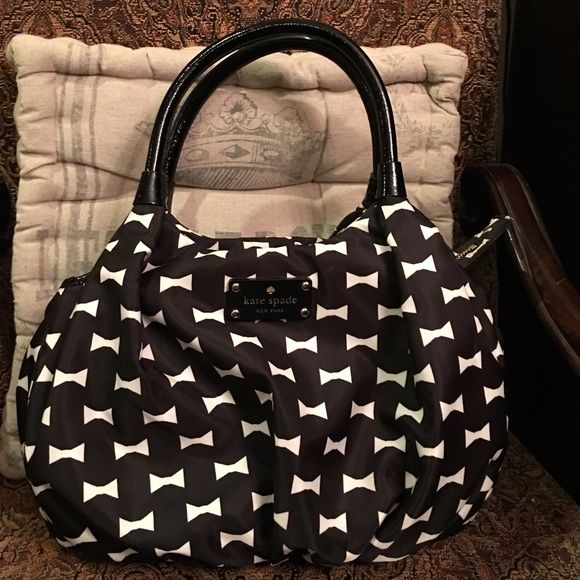 Kate Spade Black Bow Karen Adorable black and white bow nylon bag. Used once so practically new. No stains or anything. Great small handbag. Smoke free home. kate spade Bags