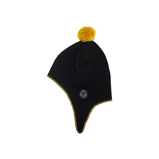 Aviator cap BLACK-YELLOW. A warmly knitted aviator cap.