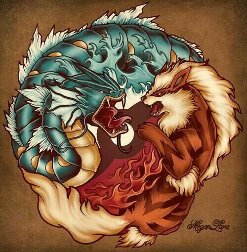 This one looks kinda realistic too. Gyrados and Arcanine