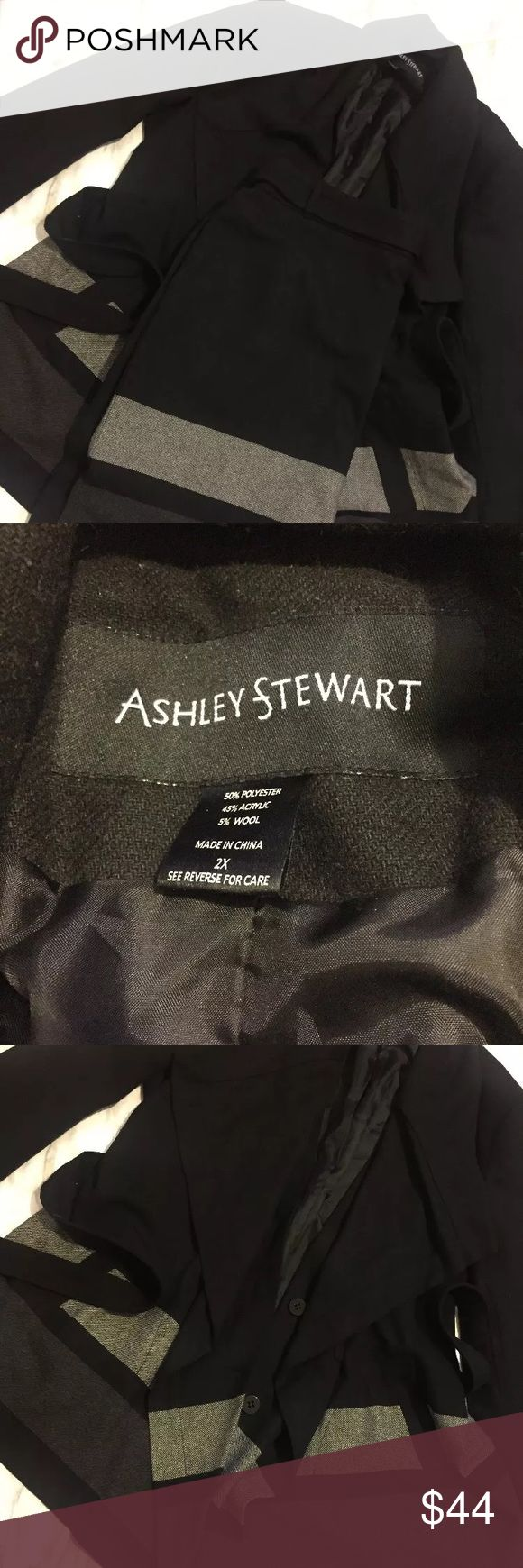 Ashely Stewart 2PC Skirt Set Wool Black Grey 2X 20 Ashley Stewart skirt suit set. JACKET 2X skirt 20. Long sleeve jacket. Belted skirt and coat. Tweed pattern in color blocking. Black background, gray and white; both jacket and skirt lined. Ashley Stewart Skirts Skirt Sets
