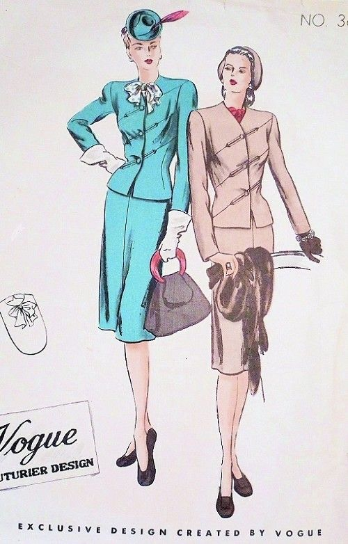 1940s Beautiful Suit and Dickey Pattern Vogue Couturier Design 363 Striking Diagonal Seams Jacket, Slim Skirt, Bow Dickey Bust 30 Vintage Sewing Pattern