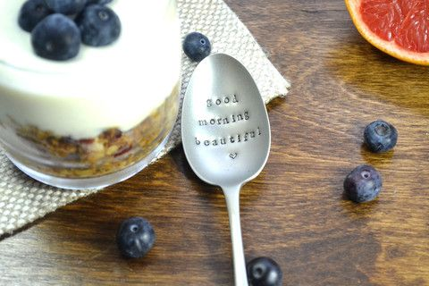 Pretty Little Silver - 'Good Morning Beautiful' Personalised Hand Stamped Vintage Spoon £12 www.prettylittlesilver.co.uk