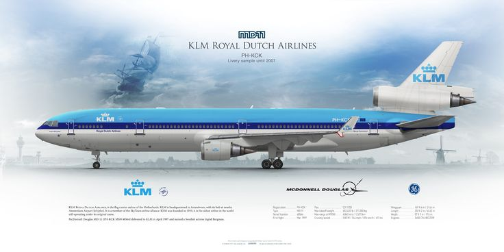 McDonnel Douglas MD-11 KLM Royal Dutch Airlines PH-KCK | www.aviaposter.com | Airliners profile print | #airliners #aviation #jetliner #airplane #pilot #avia #airline