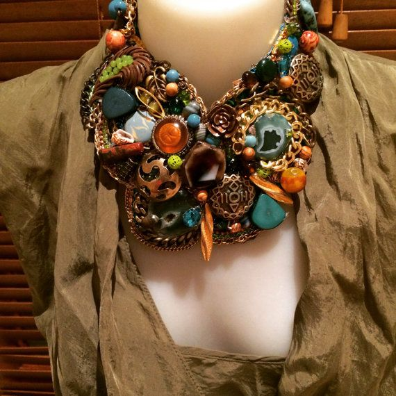 Earth tone statement necklace