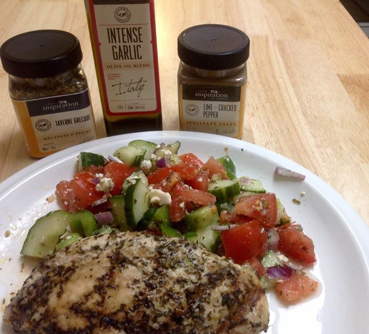 Wanted a taste of Greece so I made Greek Salad, dressing made with YIAH Greek Taverna Spice Blend, YIAH Intense Garlic EVOO, YIAH Lime and Cracked Pepper Specialty Salt and fresh lemon juice. Barbequed chicken breasts marinated in YIAH Mediterrean EVOO and Greek Taverna Spice Blend. Turned out amazing!!  #yiah