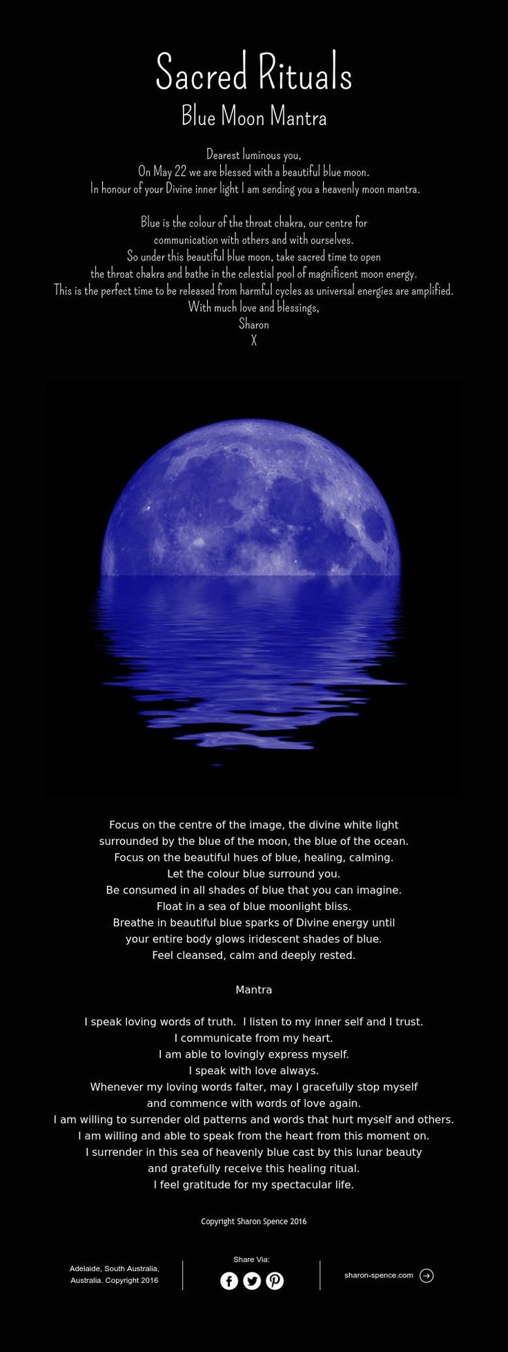 Moon:  Sacred Rituals ~ #Blue #Moon Mantra.